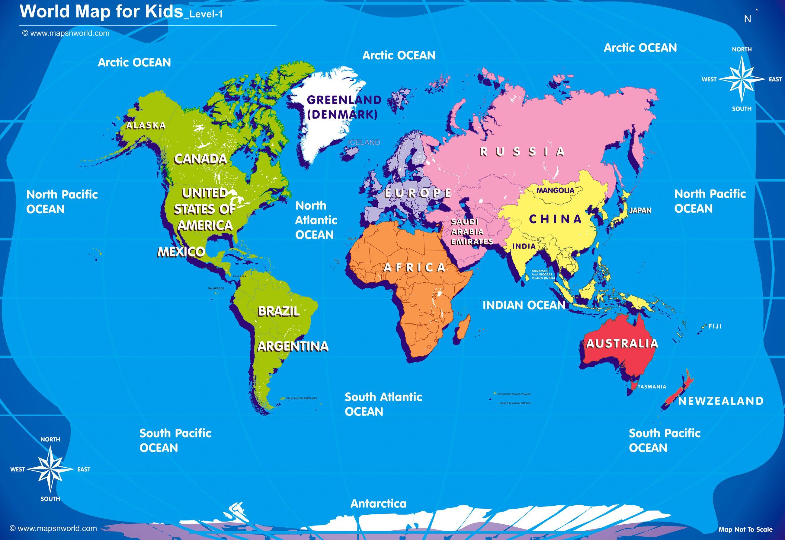 Easy World Map For Kids Cvln Rp