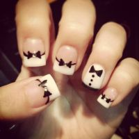 Bow tie, tuxedo, acrylic nail design! CUTE! Get the suit