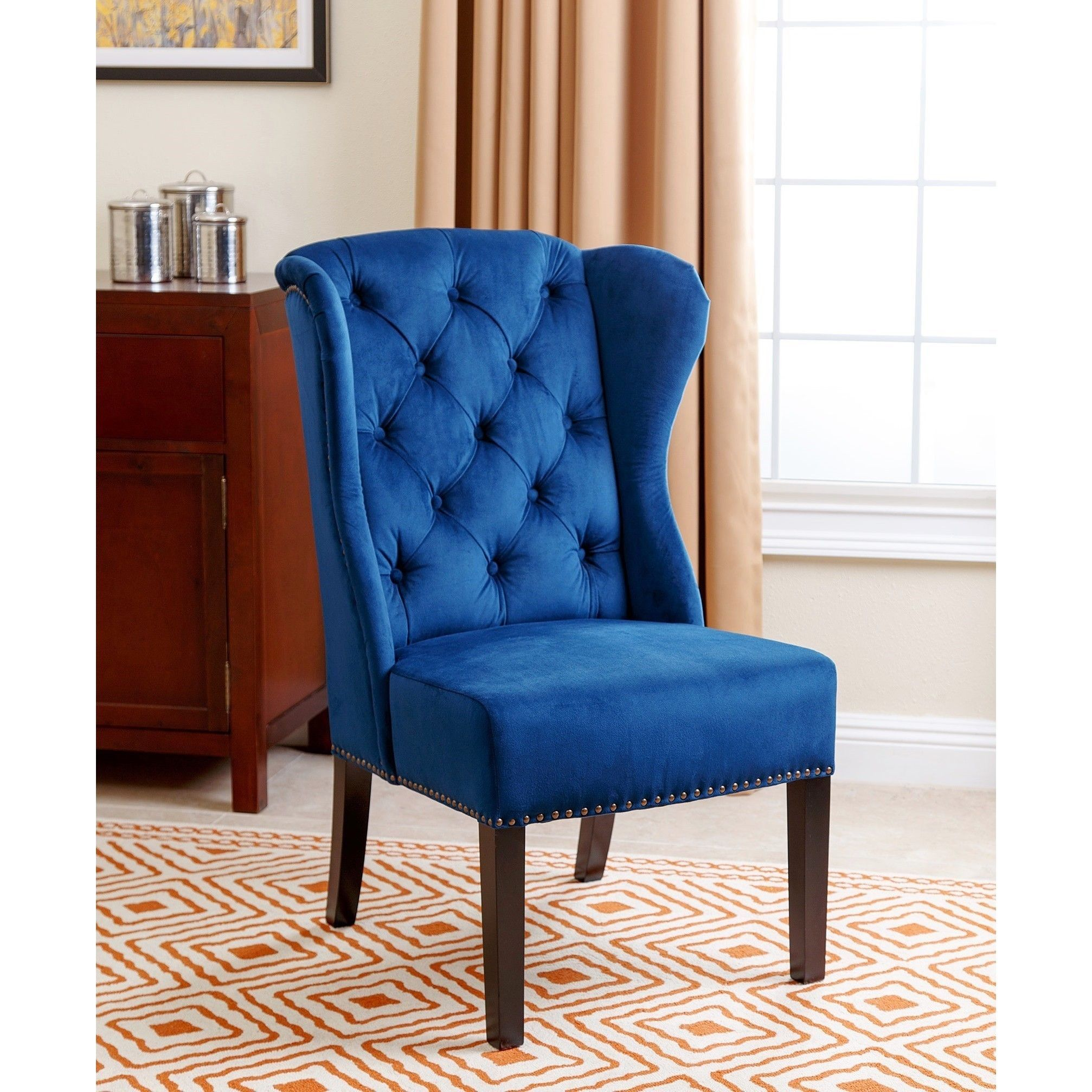 tufted wingback dining chair room chairs with cherry wood legs abbyson sierra navy blue velvet