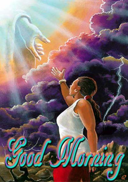 African American Hand Reaching Sky