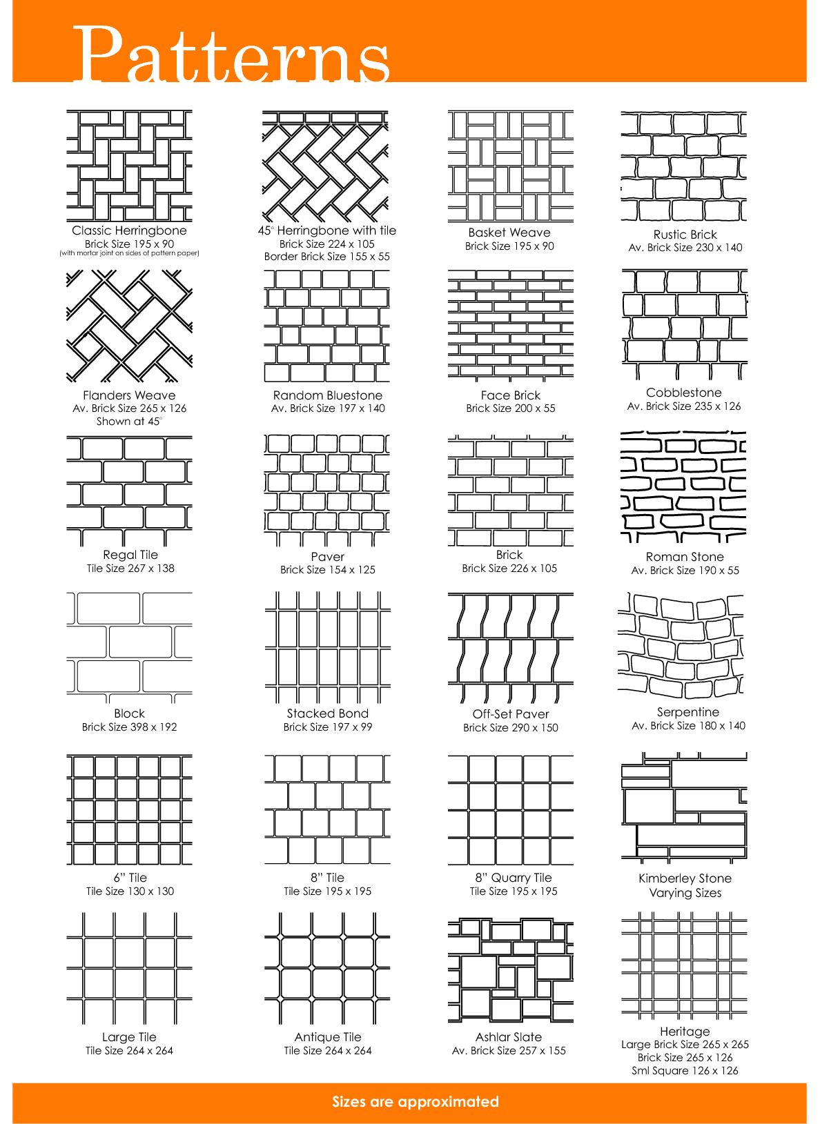 Free Printable Herrinbone Brick Patterns