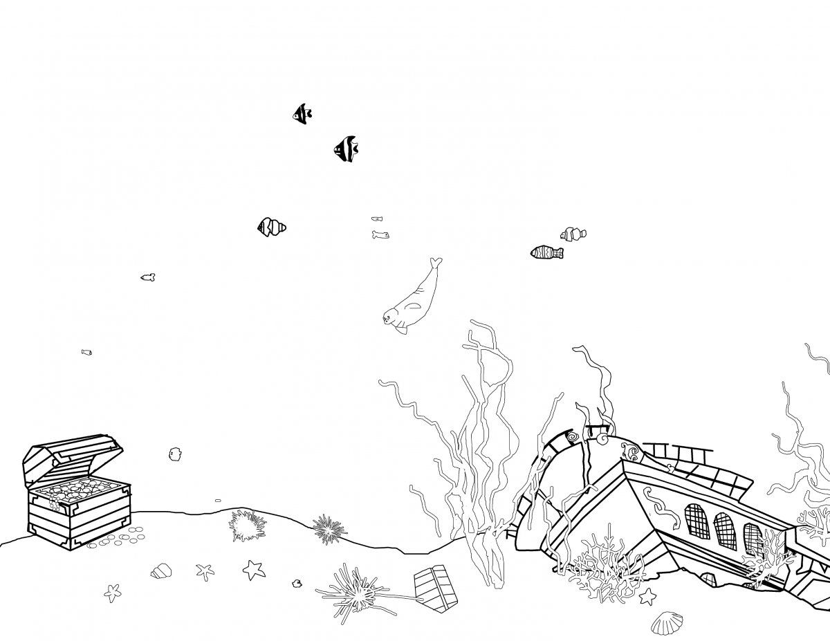 Underwater scene with a treasure chest and sunken ship. A