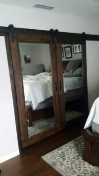 Our own DIY mirrored barn closet doors. Costco standing ...