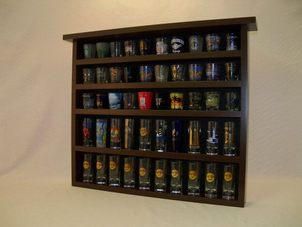 Espresso 50 Shot Glass Display Case With Black Felt Background Glasses And