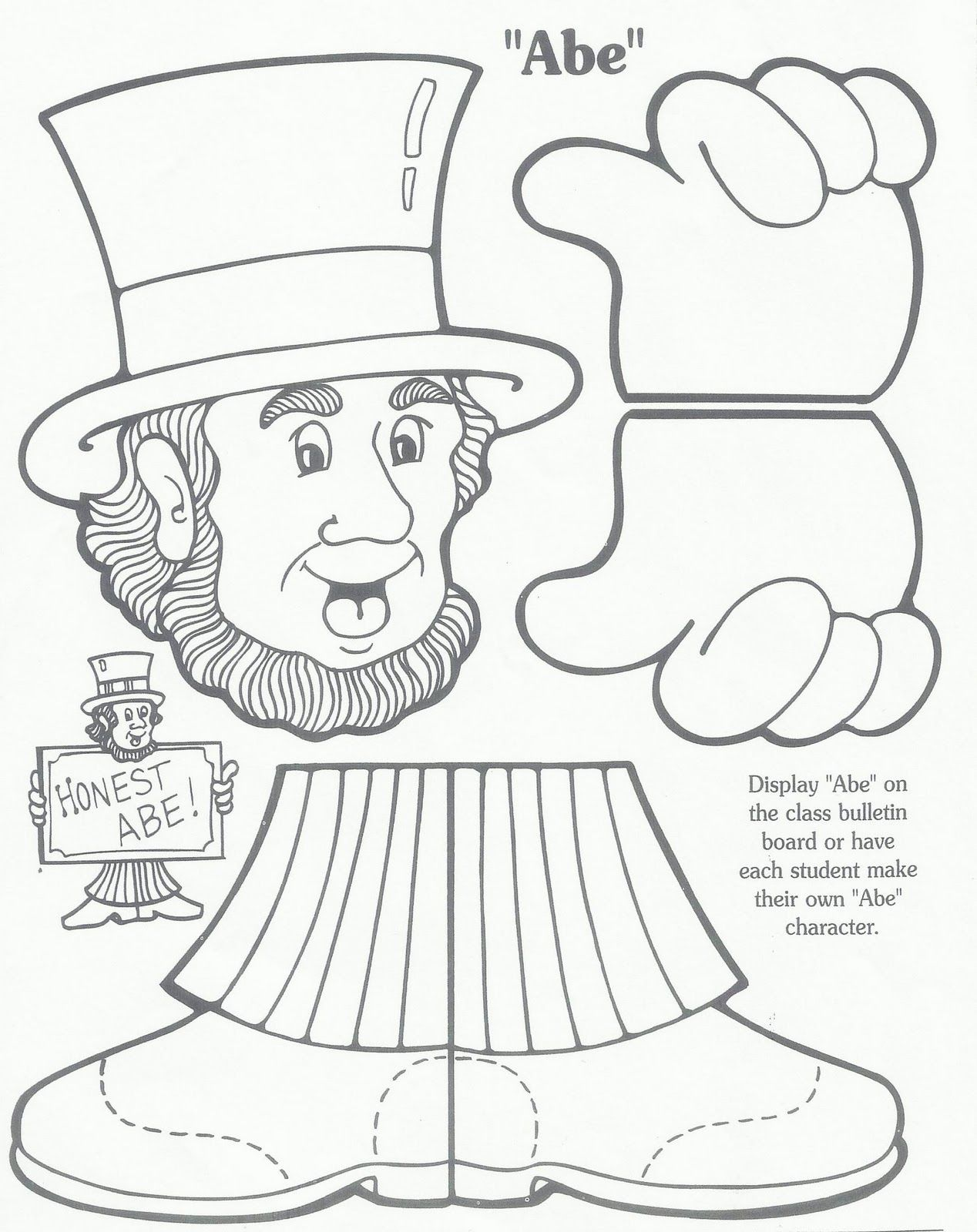 Abe Lincoln Kindergarten Worksheet