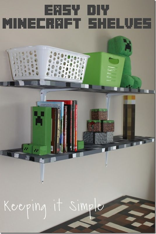 Minecraft Boys Bedroom Ideas Easy DIY Minecraft Shelves