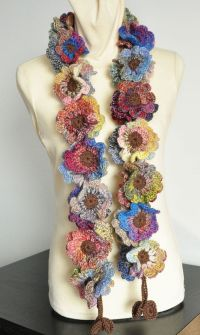 Floral Fall Crochet Multicolor flower Scarf by jennysunny ...