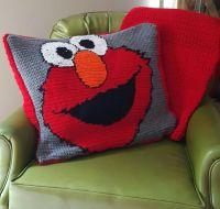 Elmo crochet pillow & toddler blanket   Things I've Done ...
