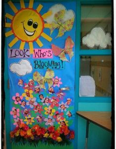 Spring bulletin board and door decoration for classrooms look who   blooming classroom decorationsclassroom ideashouse also rh pinterest