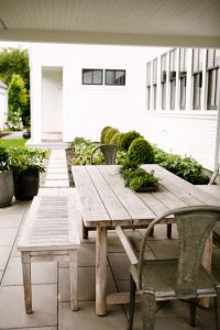 rustic farmhouse table + bench | metal outdoor dining ...