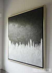 $13 DIY Silver & Black Modern Canvas Art from a Thrifted ...