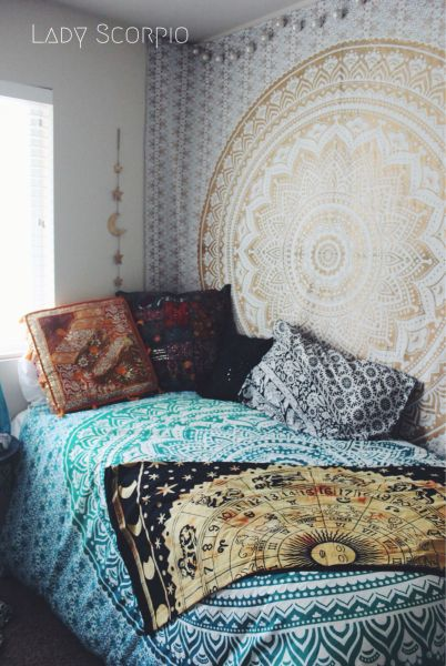 turquoise bohemian bedroom ideas Hippie Trippy Turquoise Green Blue Ombre Mandala Tapestry