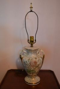 Vintage Rose Porcelain With Gold Handle Table Lamp from ...