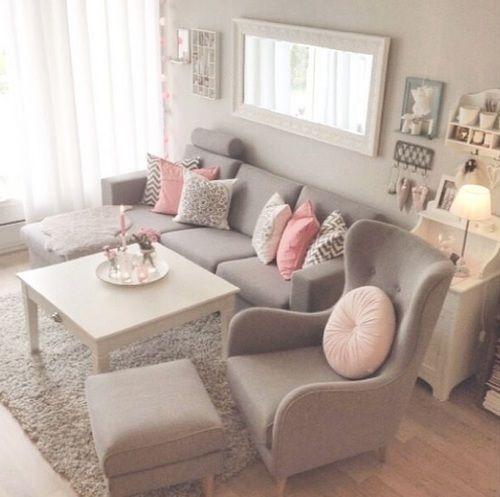 Wohnzimmer in Grau Rosa und Pink einrichten  Wohnen  Pinterest  Rosa Pink und Grau