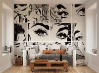 ohpopsi Black And White Pop Art Wall Mural | Art walls ...