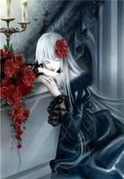 gothic blue roses gothic-anime-girl-with-blue-roses