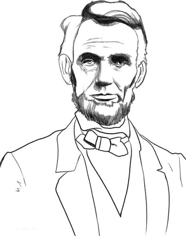 A Sketch Drawing of Abraham Lincoln Coloring Page