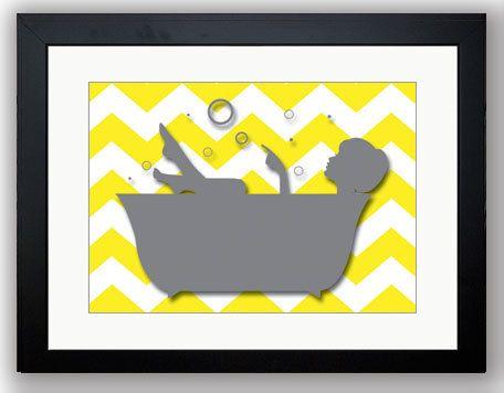 Grey girl yellow chevron in  bath tub bathroom art print wall decor modern minimalist on also bathtub rh pinterest