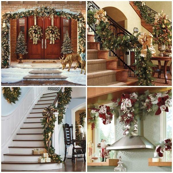 Weihnachtsdeko Ideen GirlandenTreppenhaus  Weihnachts