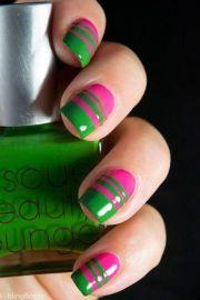 green nail design pink