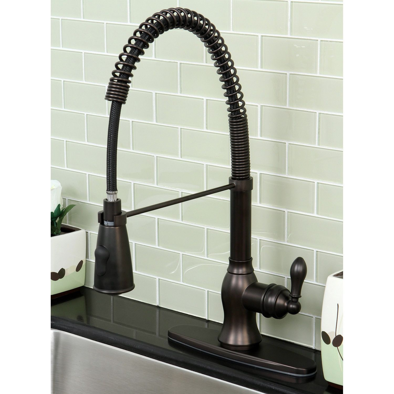 oil rubbed bronze pull down kitchen faucet antique islands kingston brass american classic modern