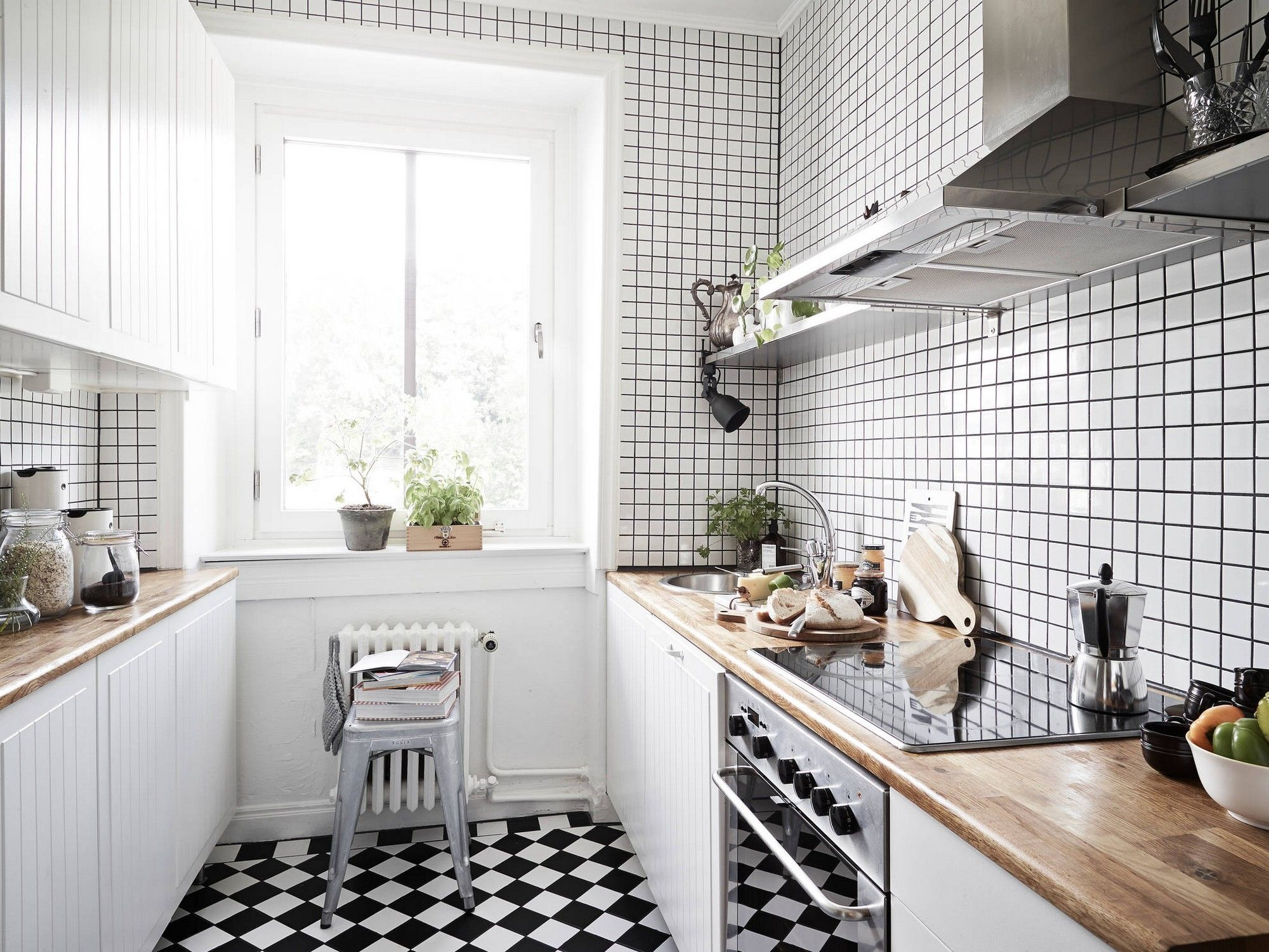 Black And White Tile Kitchen Delectable Kitchen With Black