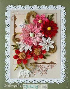 Quilling greeting card technique paper strips flower fantasy also que motivo tan hermoso teje pinterest rh