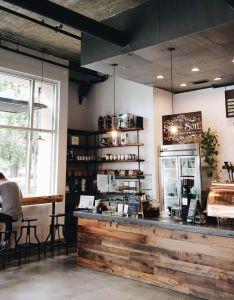 Coffee the beginning of  roux transformation wood exposed brick bar interior designcoffee shop also rh pinterest