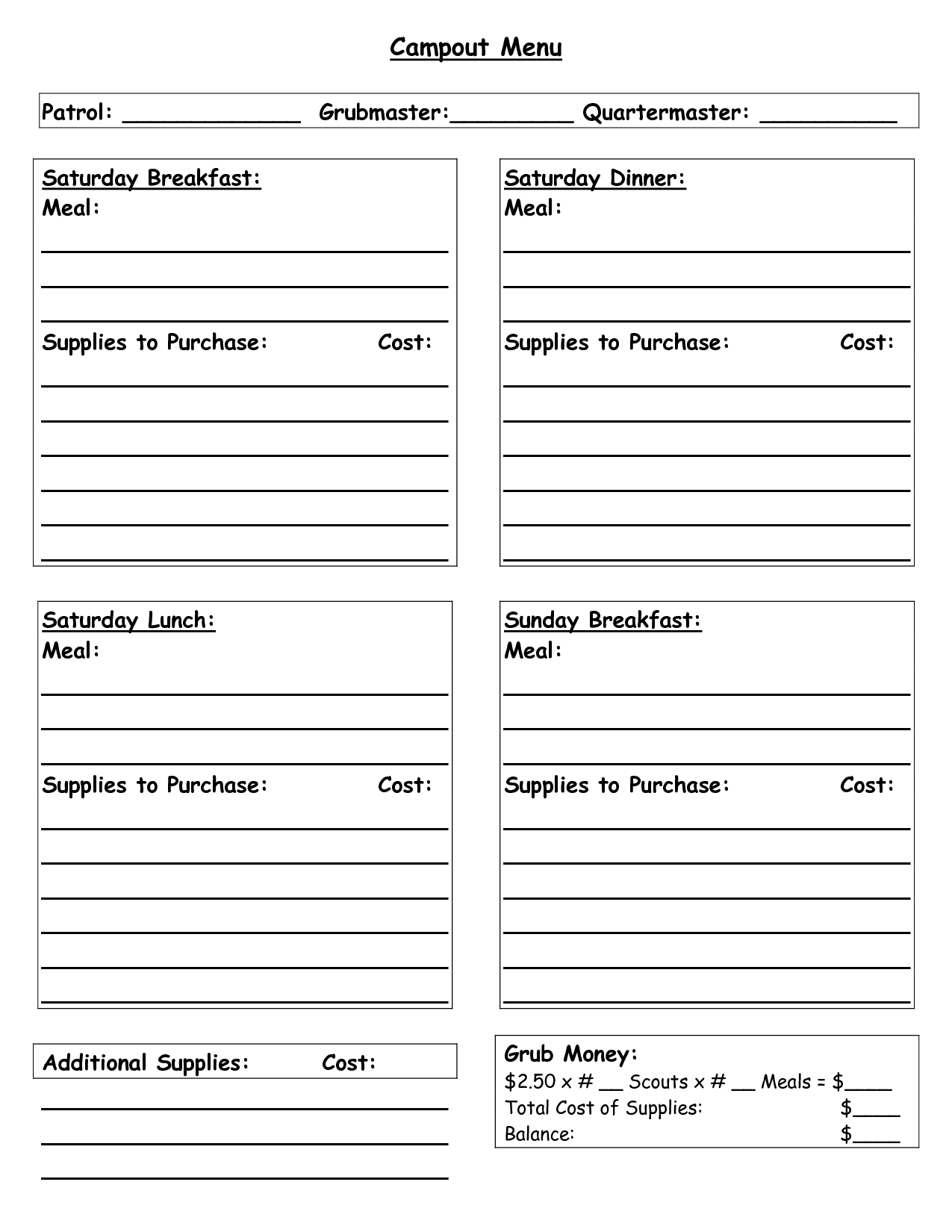 Boy Scout Duty Roster Template