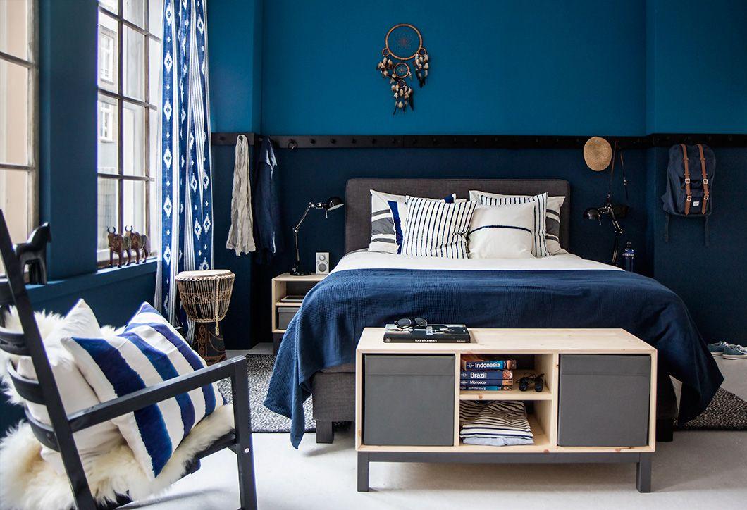 DUNVIK boxspring man blauw mooie blauwe styling  HOME