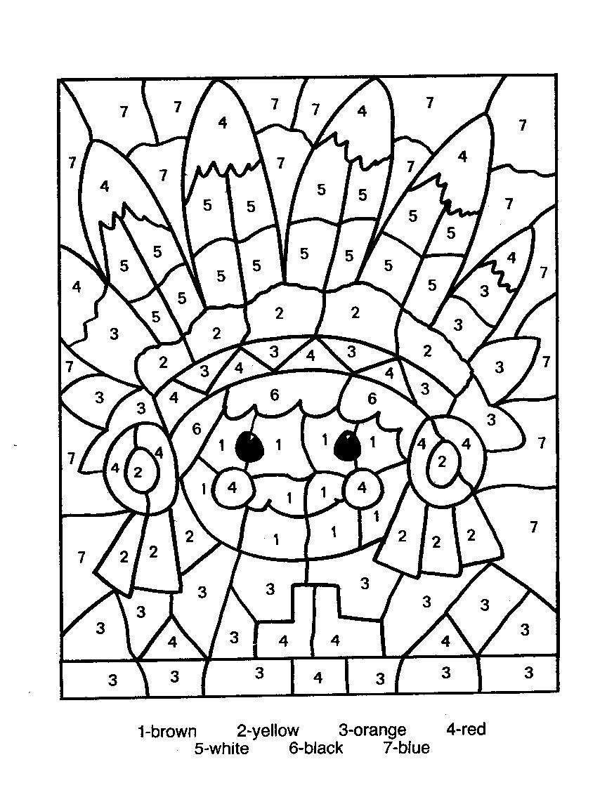 Printable Color By Number Thanksgiving Coloring Pages Halloween