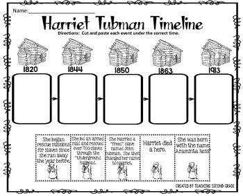 Harriet Tubman Timeline Cut and Paste FREEBIE!I am pleased