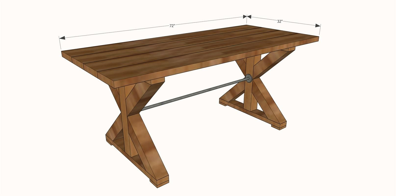 Farmhouse x table. I wouldn't have a pipe in the middle