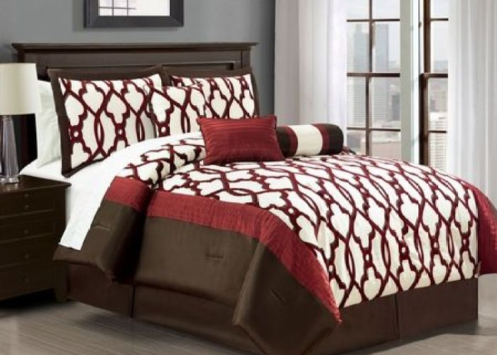 Dress up your bedroom with this astrid comforter set it features iron work inspired flocked patterns in burgundy and chocolate also piece remodeling