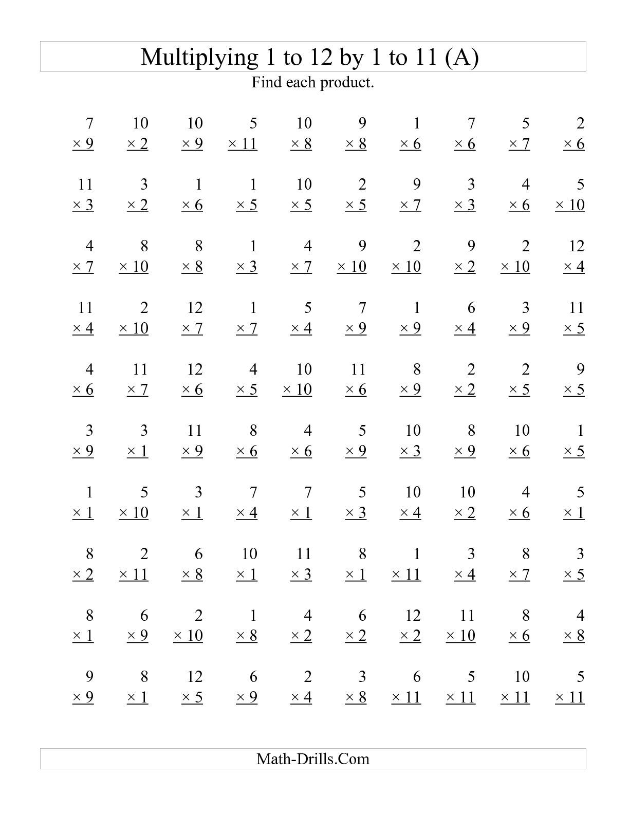 The 100 Vertical Questions Multiplying 1 To 12 By 1 To 11 A Math Worksheet From The