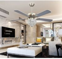 crystal ceiling fan chandelier with four blades for living ...