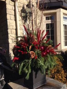 Wow Outdoor Holiday Porch Pot - With Red Dogwood