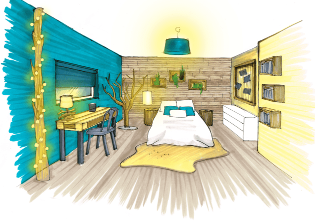 dessin design intrieur architecture perspective ozladeco chambre nature   Amnagement