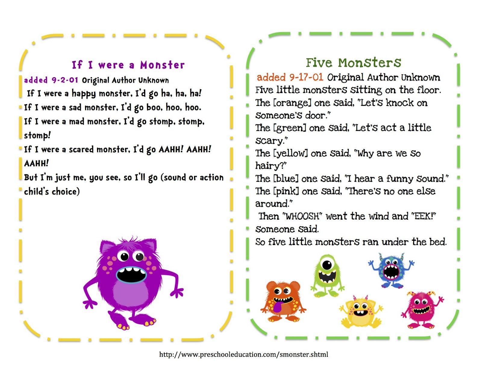 Preschool Printables Free Little Monsters Songs Amp Puppet Sticks
