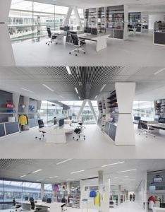 Adidas office interior by kinzo the headquarters in herzogenaurach germany has gotten an update also open plan with color pointed items oficinas pinterest rh