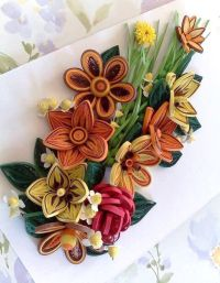 Colorful spring flowers.Quilling art.Quilling wall art ...