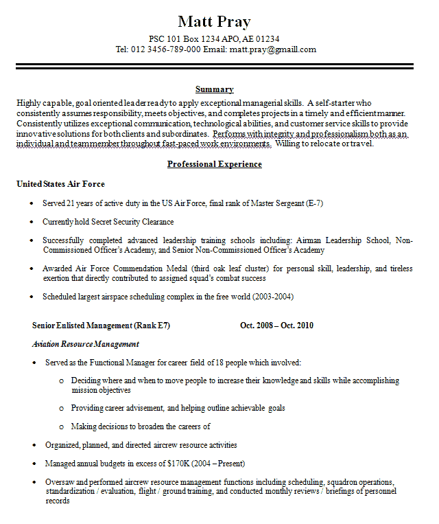 Example Military Resume Examples of Resumes