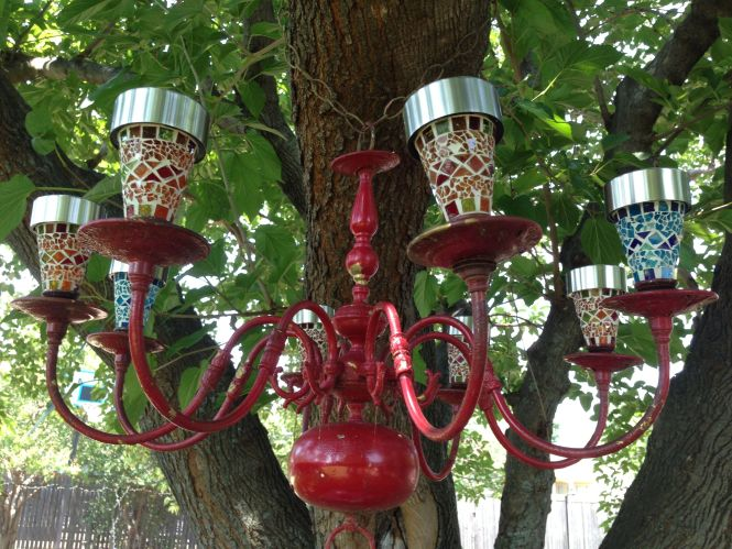 Diy Colorful Outdoor Lighted Chandelier Found Brass Road Side Spray Painted Red And