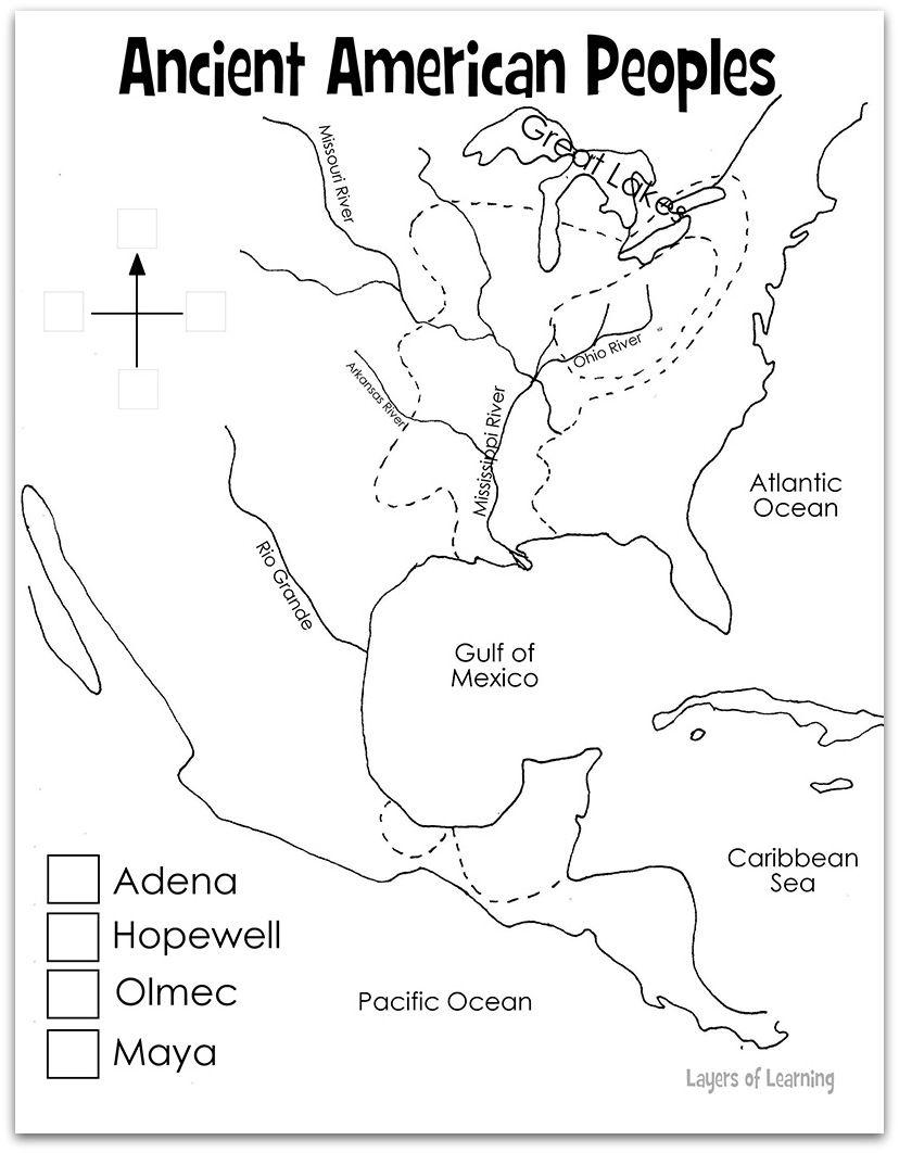 Ancient American Peoples Map. Mystery of History Volume 1