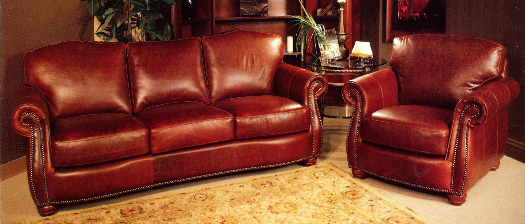 rustic leather sofa set power lift red and chair with