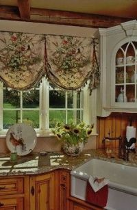 farmhouse kitchen with scenic balloon valances   Rustic ...