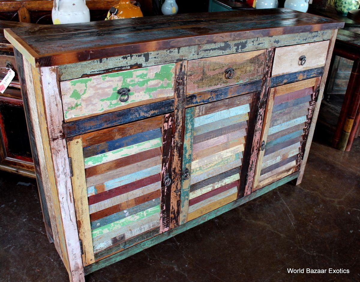 Vintage Multi colored Shutter Cabinet spectacular
