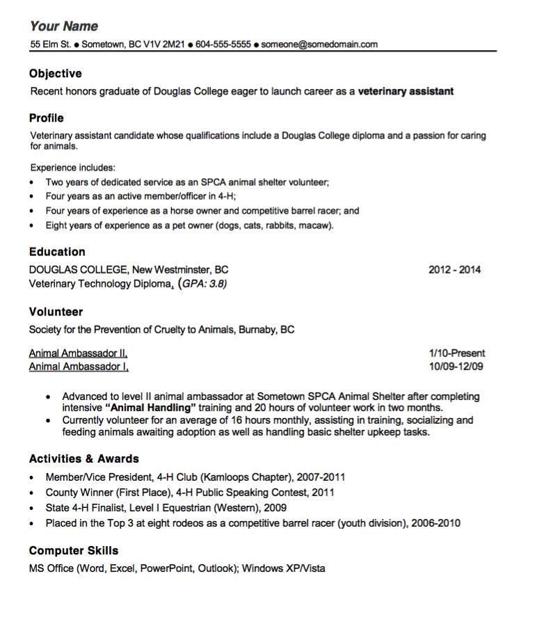 Vet Tech Resume Template Exampleresumecv Org Vet