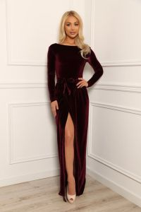 Dark Burgundy Velvet Maxi Elegant Dress Slit Open Back ...
