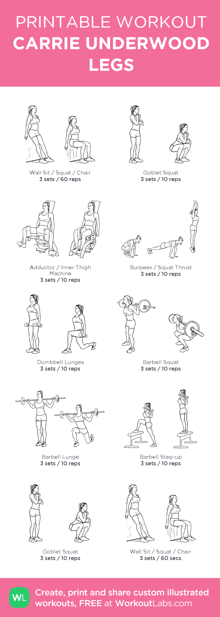 CARRIE UNDERWOOD LEGS:my visual workout created at WorkoutLabs.com • Click through to customize and download as a FREE PDF!